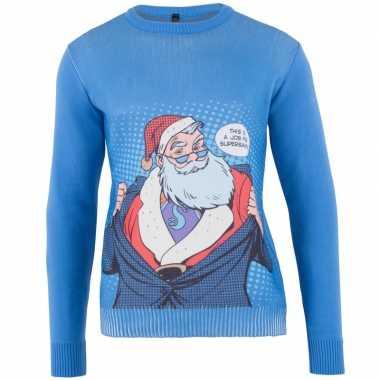 Blauwe kersttrui super santa heren