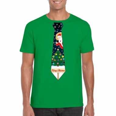Fout kerst t-shirt groen met kerstboom stropdas voor heren