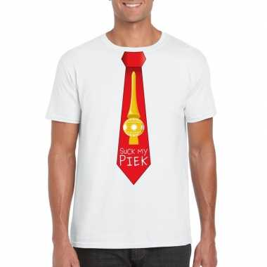 Fout kerst t-shirt wit suck my piek rode stropdas voor heren