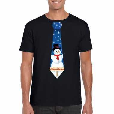 Fout kerst t-shirt zwart met sneeuwpop stropdas voor heren