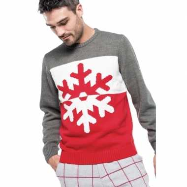 Kersttrui Heren L.Foute Gebreide Kersttrui Grijs Rood Met Sneeuwvlok Voor Heren