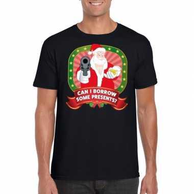 Foute kerst t-shirt zwart can i borrow some presents voor heren