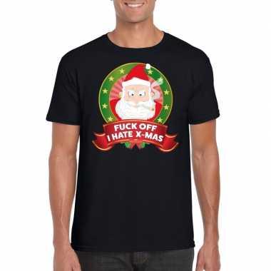 Foute kerst t-shirt zwart fuck off i hate x-mas heren