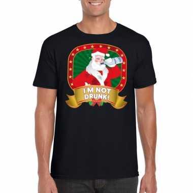 Foute kerst t-shirt zwart im not drunk voor heren
