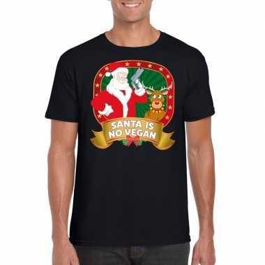 Foute kerst t-shirt zwart santa is no vegan heren