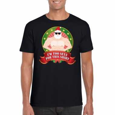 Foute kerstkleding t-shirt i'm too sexy for this shirt voor heren