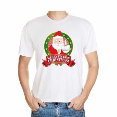 Foute kerstkleding t-shirt merry fucking christmas voor heren