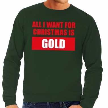 Foute kersttrui christmas gold groen voor heren