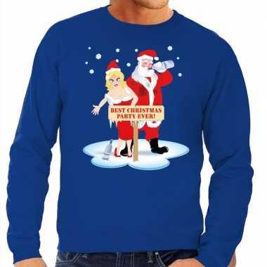 Foute kersttrui dronken kerstman en kerstvrouw blauw heren