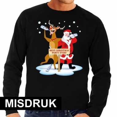 Foute kersttrui dronken kerstman en rendier rudolf zwart heren - uitverkoop met kleine drukfout
