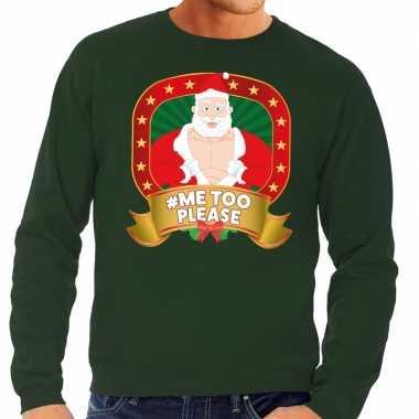 Foute kersttrui groen hashtag me too please voor heren
