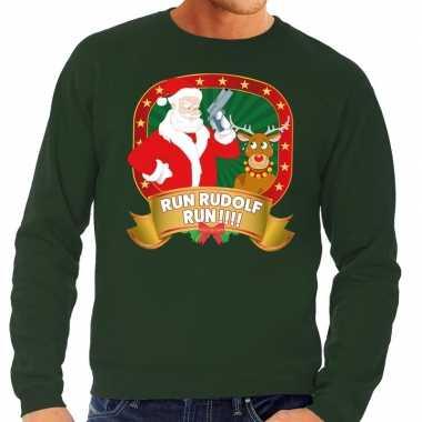 Foute kersttrui groen run rudolf run voor heren