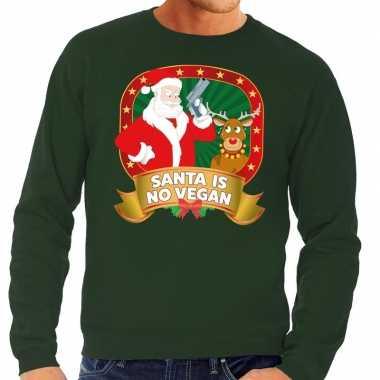 Foute kersttrui groen santa is no vegan voor heren