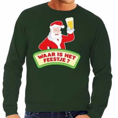 Foute kersttrui groen waar is het feestje voor heren