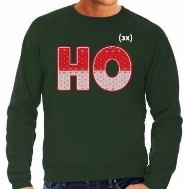 Foute kersttrui ho ho ho groen voor heren