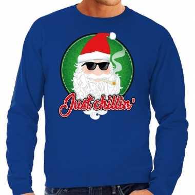 Foute kersttrui just chillin blauw voor heren
