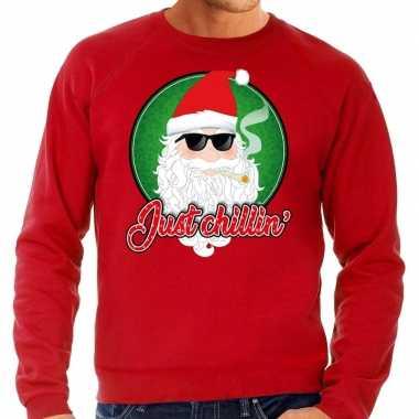 Foute kersttrui just chillin rood voor heren