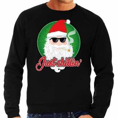 Foute kersttrui just chillin zwart voor heren