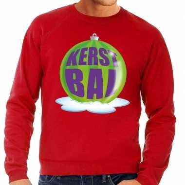 Foute kersttrui kerstbal groen op rode sweater voor heren