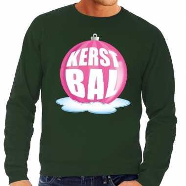 Foute kersttrui kerstbal roze op groene sweater voor heren