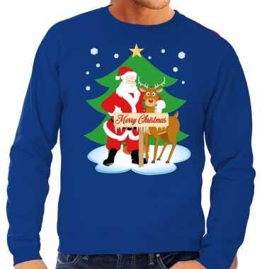 Foute kersttrui kerstman en rendier rudolf blauw heren