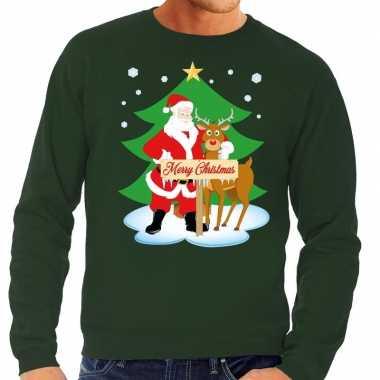 Foute kersttrui kerstman en rendier rudolf groen heren