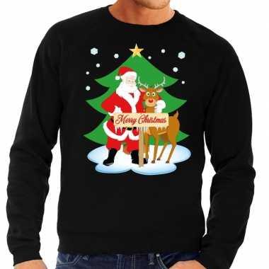 Kersttrui Heren We.Foute Kersttrui Kerstman En Rendier Rudolf Zwart Heren Kersttrui