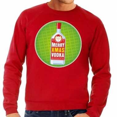 Foute kersttrui merry christmas vodka rood heren