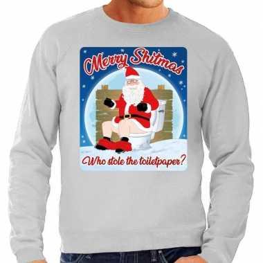 Foute kersttrui merry shitmas grijs voor heren