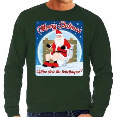 Foute kersttrui merry shitmas groen voor heren