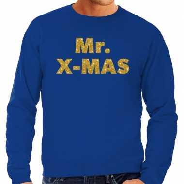 Foute kersttrui mr. x-mas gouden glitter letters blauw heren