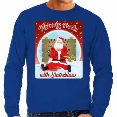 Foute kersttrui nobody fucks with sinterklaas blauw voor heren