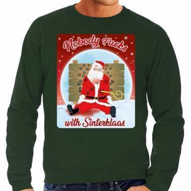 Foute kersttrui nobody fucks with sinterklaas groen voor heren