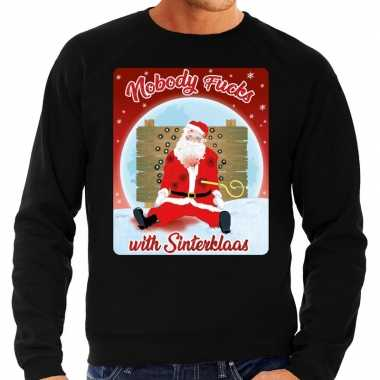 Foute kersttrui nobody fucks with sinterklaas zwart voor heren