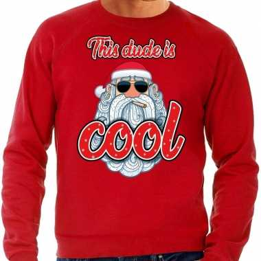 Foute kersttrui stoere kerstman this dude is cool rood heren