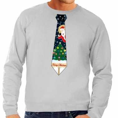 Foute kersttrui stropdas met kerst print grijs voor heren