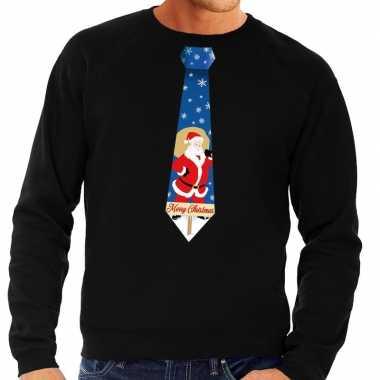 Foute kersttrui stropdas met kerstman print zwart voor heren
