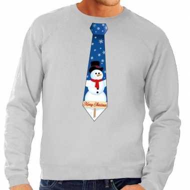 Foute kersttrui stropdas met sneeuwpop print grijs voor heren