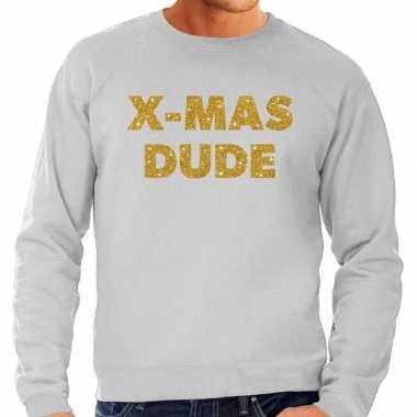 Foute kersttrui x-mas dude gouden glitter letters grijs heren