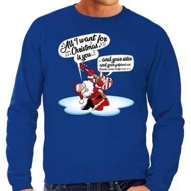 Foute kersttrui zingende kerstman met gitaar blauw voor heren