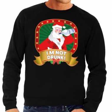 Foute kersttrui zwart im not drunk voor heren