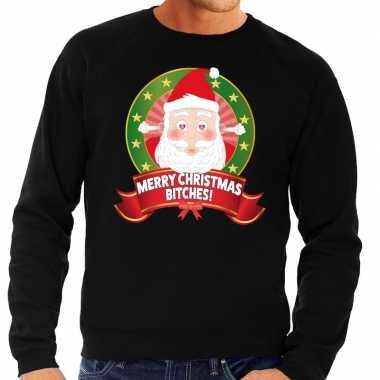 Foute kersttrui zwart merry christmas bitches voor heren