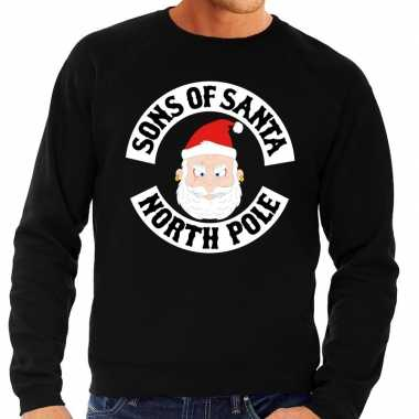 Foute kersttrui zwart sons of santa voor heren