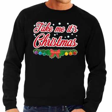 Foute kersttrui zwart take me its christmas voor heren