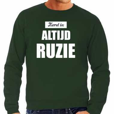 Groene foute kersttrui / sweater kerst is: altijd ruzie outfit heren