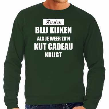 Groene foute kersttrui / sweater kerst is blij kijken / kut cadeau outfit heren