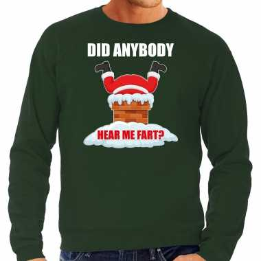 Grote maten foute kersttrui / outfit did anybody hear my fart groen voor heren