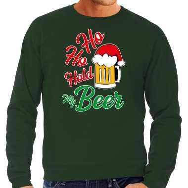 Grote maten ho ho hold my beer fout kersttrui / outfit groen voor heren