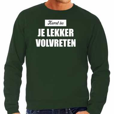 Kerst is je lekker volvreten foute kersttrui / kerst outfit groen voor heren
