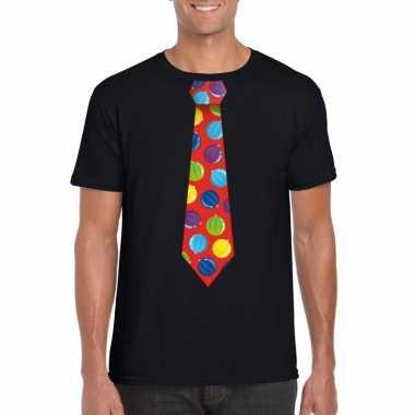 Kerst t-shirt stropdas met kerstballen print zwart voor heren
